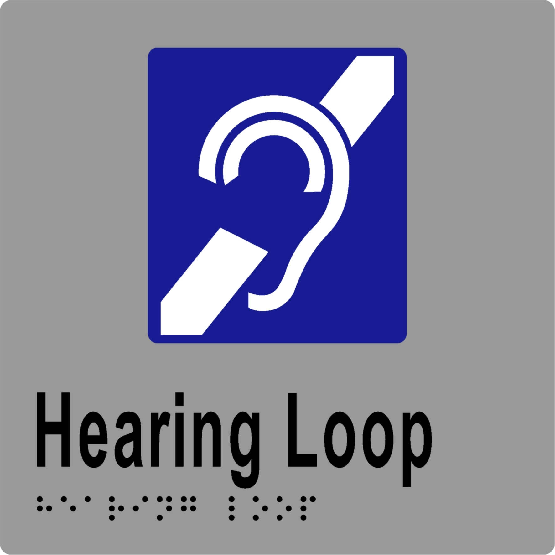 Hearing Loop 150 x 150 BRAILLE