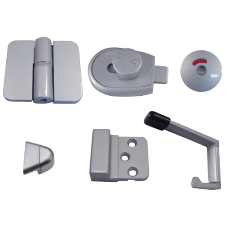 Antimicrobial Toilet Partition Hardware Kit, 3 Hinges