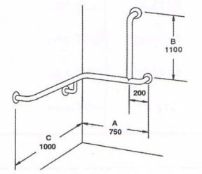 Disabled Wrap Around Shower Grab Rail L/H, R/H 1050 x 1050 x 1100 – SSS