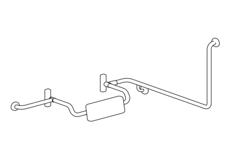 Disabled Toilet Grab Rail with Integrated Padded Back Rest, L/H – SSS