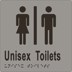 Unisex Sign, Toilet Divided 150x150 BRAILLE