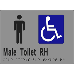 Male Accessible Toilet R/H 205x150 BRAILLE – SS/Vinyl