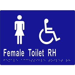 Female Sign, Female Accessible Toilet R/H 205x150 BRAILLE