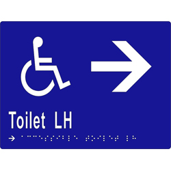 Accessible Toilet L/H and Arrow 200x150 BRAILLE