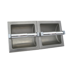 Recessed Double Toilet Roll Holder - SS Satin