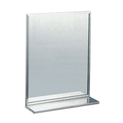 460mm x 610mm Framed Mirror with 6mm Vinyl Backed Safety Glass and Shelf - SSS