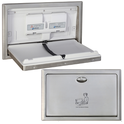 Metlam Stainless Steel Surface Mounted Horizontal Baby Change Station